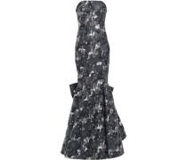 Strapless Embellished Jacquard Gown Black