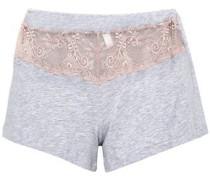 Lace-paneled Mélange Cotton-blend Pajama Shorts Light Gray