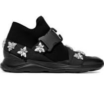 Crystal-embellished Neoprene Sneakers Black