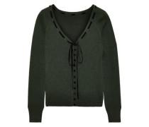 Velvet-trimmed Silk Cardigan Dark Green