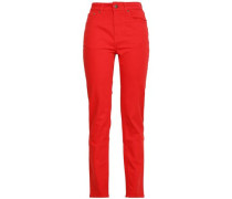 High-rise Straight-leg Jeans Red  6
