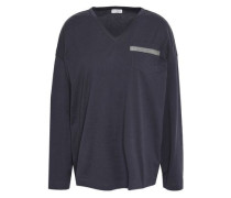 Woman Bead-embellished Cotton-jersey Top Navy