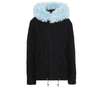Shearling-trimmed Cotton-blend Gabardine Hooded Coat Black