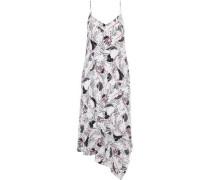 Jada Asymmetric Printed Washed-silk Midi Dress White