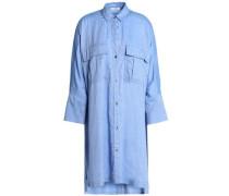 Cotton-blend twill shirt dress