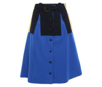 Woman Belted Striped Stretch Knit-appliquéd Twill Skirt Bright Blue
