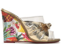 Bow-embellished lamé, PVC and printed leather wedge mules