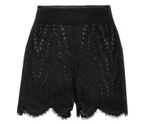 Broderie anglaise cotton-blend gauze shorts