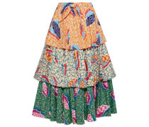 Knotted Tiered Printed Cotton-blend Midi Skirt Multicolor