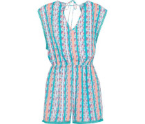 Camila Cutout Lace-trimmed Poplin Playsuit Turquoise