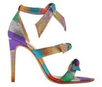 Knotted Striped Lamé Sandals Multicolor