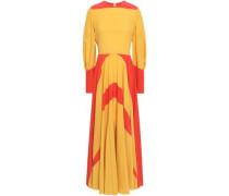 Two-tone Silk Crepe De Chine Maxi Dress Saffron