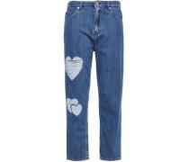 Woman Cropped Distressed Boyfriend Jeans Mid Denim