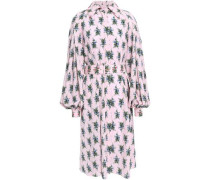 Clarisse Belted Floral-print Crepe Shirt Dress Pastel Pink Size 12