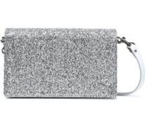 Woman Disco Soirée Mini Tinsel-appliquéd Mirrored-leather Shoulder Bag Silver
