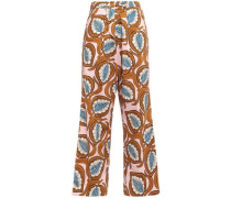 Printed Cotton-poplin Straight-leg Pants Pastel Pink