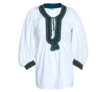 Gathered Embroidered Cotton-jacquard Blouse White