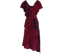 Layered Printed Silk Crepe De Chine Dress Red