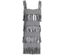 Nevis fringed striped cotton-twill dress