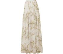 Gathered Floral-print Silk-chiffon Maxi Skirt Ivory