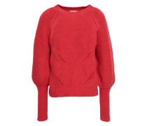Pointelle-trimmed Ribbed Cotton And Cashmere-blend Sweater Papaya