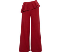 Bearded Iris Cotton-blend Peplum Wide-leg Pants Brick