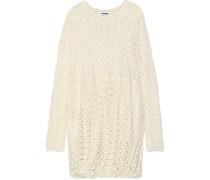 Gathered Crocheted Wool-blend Dress Cream