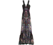 Lace-up lace-paneled printed silk gown