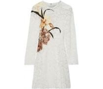 Appliquéd Cotton-blend Corded Lace Mini Dress Ivory