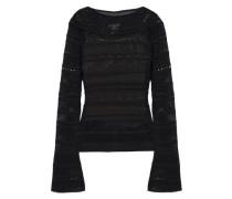 Scalloped Open-knit Sweater Black