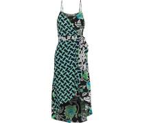 Katsia Asymmetric Printed Crepe De Chine Wrap Dress Multicolor