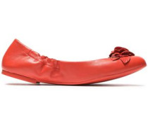 Floral-appliquéd leather ballet flats