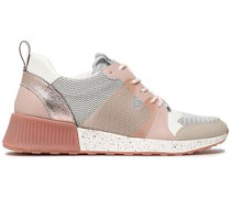 Darsie Faux Leather And Pvc-trimmed Mesh Sneakers Antique Rose