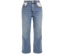 Woman Cropped Distressed Mid-rise Straight-leg Jeans Mid Denim