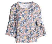 Fluted printed cotton and linen-blend top