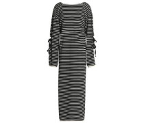 Tie-detailed striped cotton-jersey maxi dress