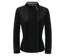 Chenille-paneled Velvet Jacket Black