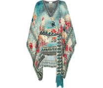 Her Heirloom Crystal-embellished Printed Silk-jacquard Mini Dress Petrol Size ONESIZE