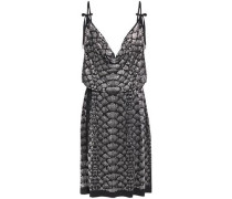 Woman Bow-detailed Studded Stretch-jersey Dress Black