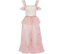 Cold-shoulder Chain-embellished Printed Silk-organza Midi Dress Baby Pink