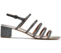 Glittered Woven Slingback Sandals Silver