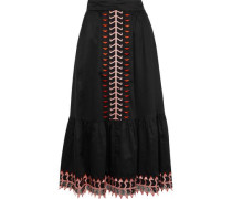 Agnes Embroidered Tulle-trimmed Cotton Midi Skirt Black