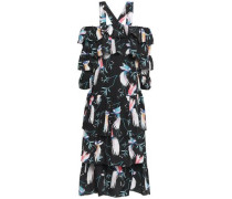 Cold-shoulder Tiered Printed Crepe De Chine Midi Dress Black