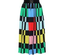 Woman Melda Checked Crepe De Chine Midi Skirt Multicolor