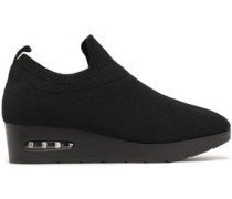 Woman Stretch-knit Wedge Slip-on Sneakers Black