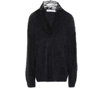Diamon Lace-trimmed Brushed Knitted Sweater Black