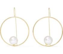 Gold-tone faux pearl hoop earrings