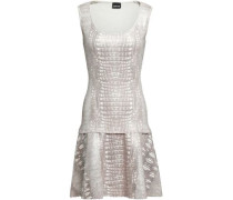 Fluted Snake-print Knitted Mini Dress Silver