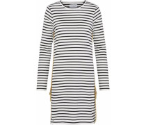 Buckle-detailed Striped Cotton-jersey Mini Dress Off-white