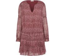 Snow shirred printed silk-chiffon mini dress